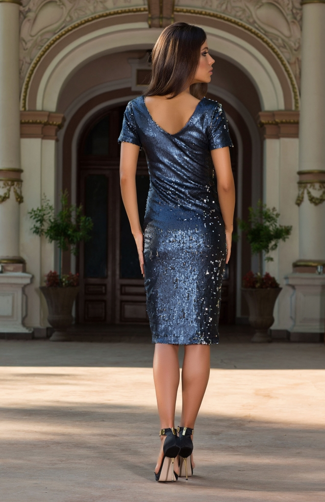 Arlette Blue Sequin Bodycon Dress from Vero Milano